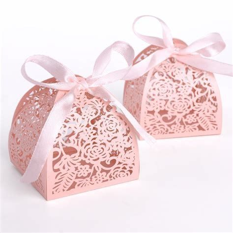 Wedding Small Candy Boxes , Pink Color Mini Paper Gift Box Offset Printing